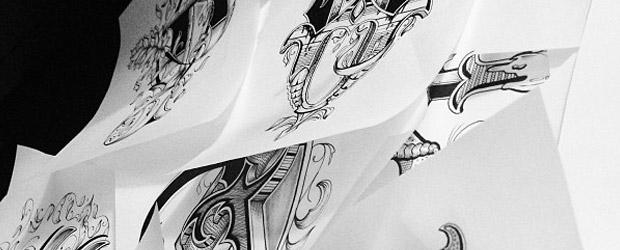 Przepięknie i ręcznie ilustrowany alfabet