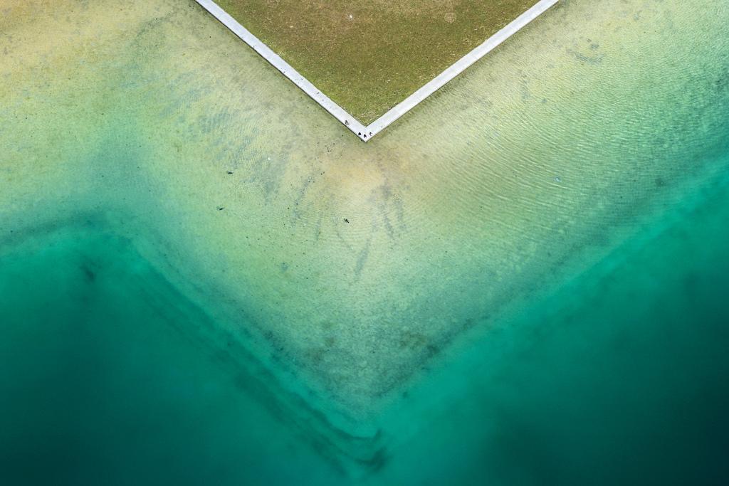 Luftbild von Enten am Riemer See