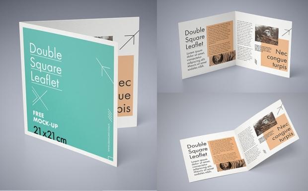 Mockup / Składana ulotka 21×21 / Double square leaflet