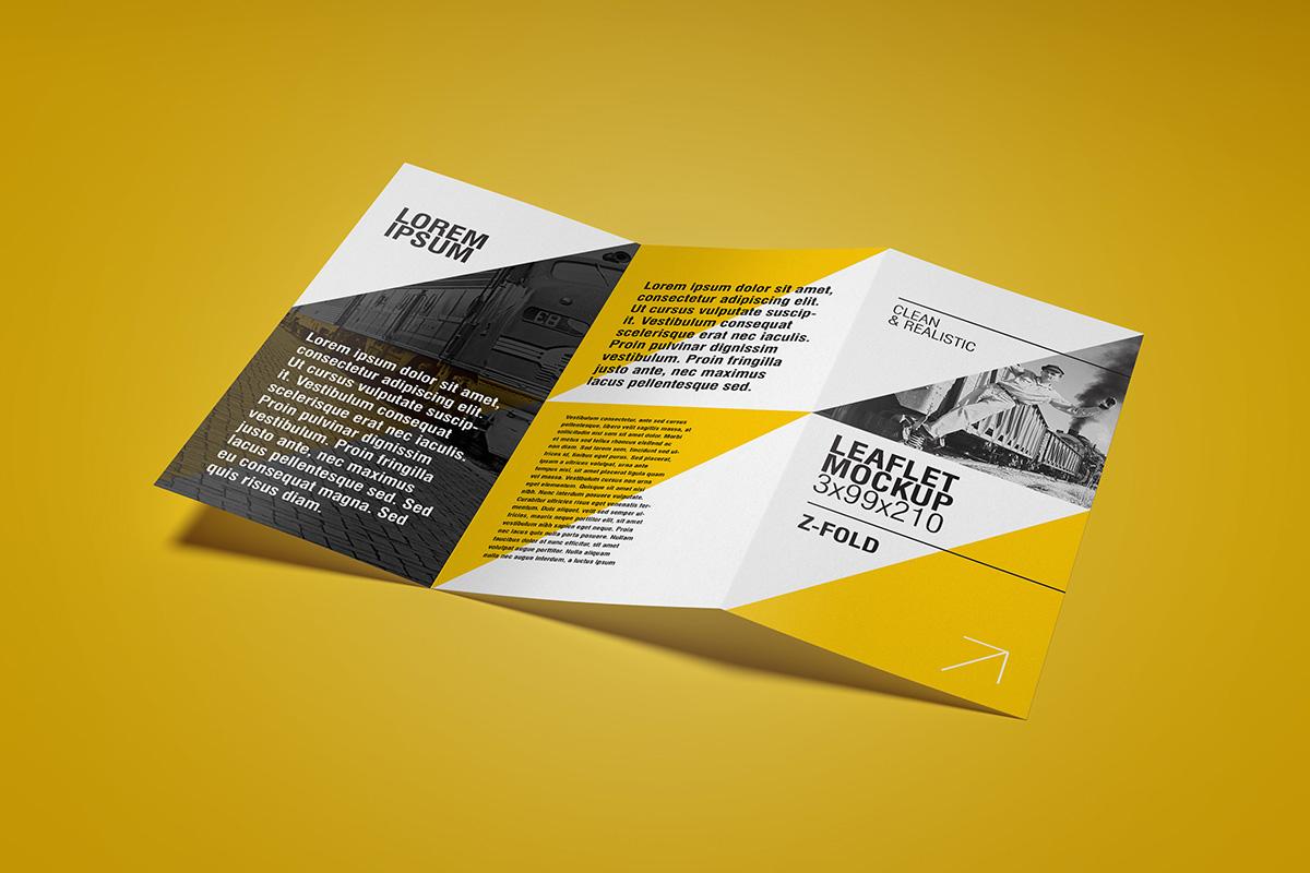 Leaflet Mockup - 3 x99 mm / Z fold