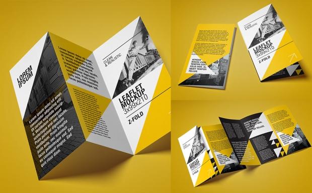 Mockup / Ulotka DL harmonijka / DL leaflet  – Z Fold
