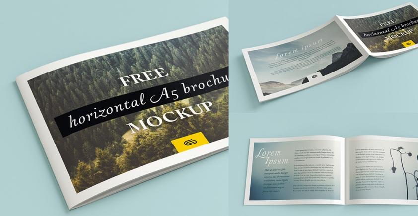 Mockup / Broszura A5 poziomo / A5 horizontal brochure