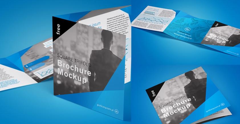 Mockup / Ulotka składana 2 x kwadrat / Trifold square brochure