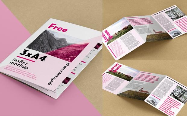 Mockup / Ulotka składana 3xA4 / Trifold A4 brochure
