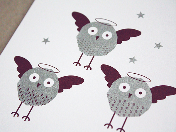 Weihnachtskarte mit Eulen / Christmas Card with Owls