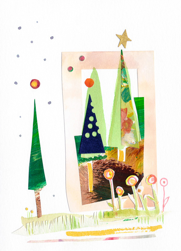 Handmade, Christmas card by Gina Rossi for P. Wigglebottom & Co.